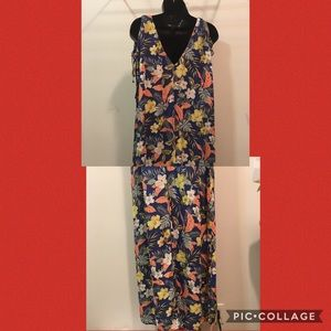Zara basic floral maxi cold shoulder dress small